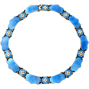 Vintage Danish sterling silver gilt guilloche enamel collar necklace , Volmer Bahner
