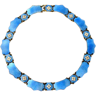 Vintage Danish sterling silver gilt guilloche enamel collar necklace , Volmer Bahner
