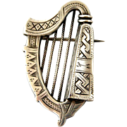 Antique Victorian sterling silver harp brooch Adie and Lovekin 1881