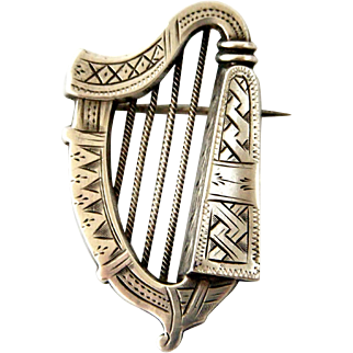 Antique Victorian sterling silver harp brooch Adie and Lovekin 1881