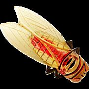 French art deco early plastic cicada bug brooch