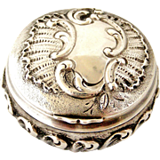 French antique 800-900 silver rococo pill box , art nouveau era.