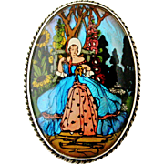 Beautiful art deco Morpho butterfly wing and sterling silver brooch, lady with crinoline in a garden.