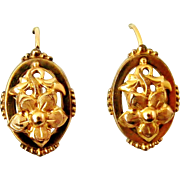 French antique gold filled dormeuse flower earrings