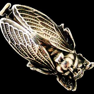 French art deco silver plated cicada brooch