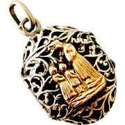 French antique silver and rose gold reliquary locket , Notre Dame de Salette
