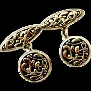 French antique art nouveau 800-900 silver mistletoe cufflinks