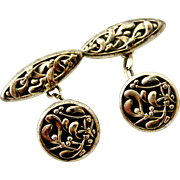 French antique art nouveau 800-900 silver mistletoe cufflinks