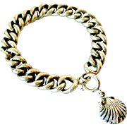 French antique 800-900 silver bracelet with puffy cockle shell charm