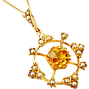 Victorian 15k gold citrine and natural split seed pearl snowflake pendant on 9k gold chain