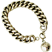 Antique French 800-900 Silver  bracelet with ball charm Victorian era