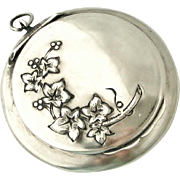 French antique art nouveau 800-900 silver compact locket, ivy and berries, Christmas