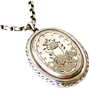 Victorian sterling silver locket on original chain