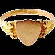 Antique art nouveau English 9k rose gold signet ring, Chester 1911