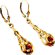 Art nouveau French gold filled ruby paste earrings