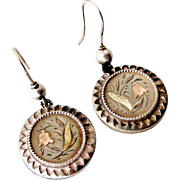 Victorian sterling silver earrings engraved with harebells with rose and green gold