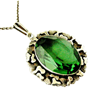 German modernist sterling silver pendant with green stone similar to tourmaline , Friedrich Speidel, Pforzheim