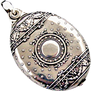 French silver slide locket with stars, antique mirror pendant by Prudent Quitte, Paris