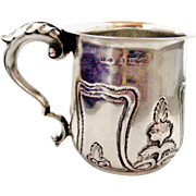 English antique art nouveau sterling silver child's Christening cup