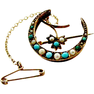 English turquoise and seed pearl antique 9k gold crescent brooch