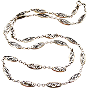 French antique silver filigree chain 31 inches long