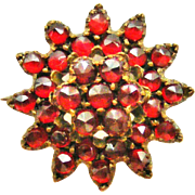 Antique bohemian garnet lace pin cluster brooch