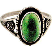 Sterling silver and green turquoise ring by Thomas L Mott stamped T L M