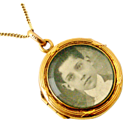 French 18k gold fill double sided FIX locket on rolled gold chain