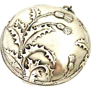 French art nouveau hallmark silver compact locket ,thistle