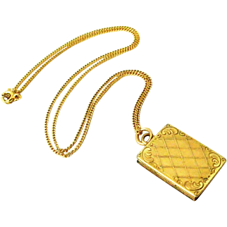 French art deco gold filled book locket and chain