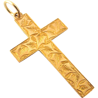 English 9k rose gold antique cross engraved with ivy leaves