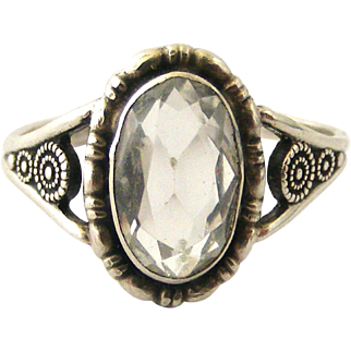 Sterling silver rock crystal ring by Thomas L Mott