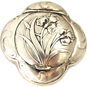 French art nouveau 800-900 silver iris compact or pill box