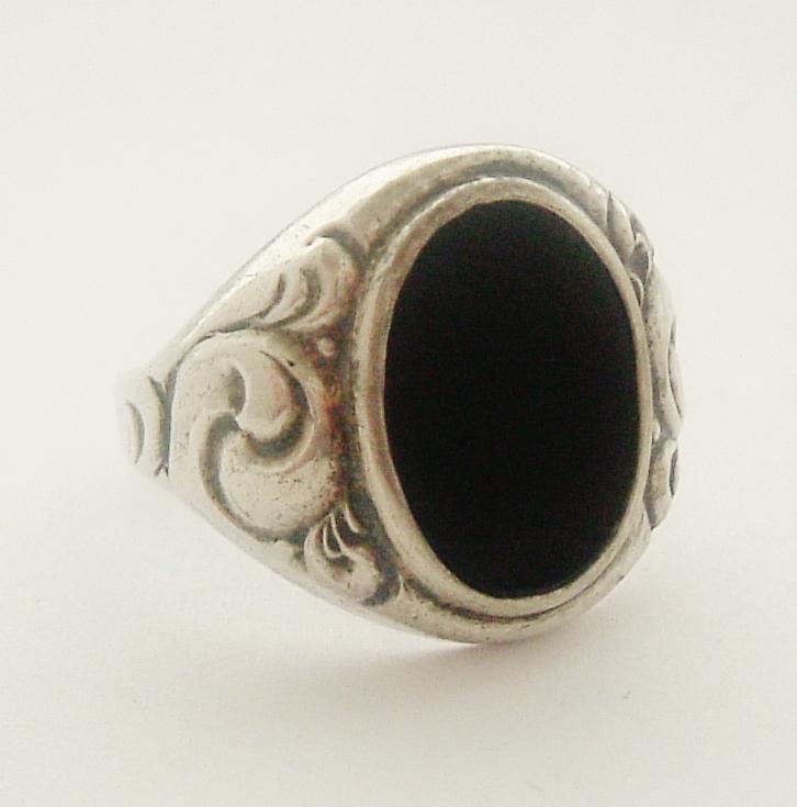 half price antique jugendstil german 835 silver onyx