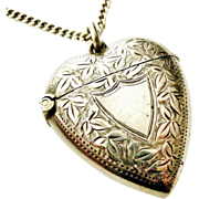 Fabulous Antique Victorian large sterling silver heart vesta locket
