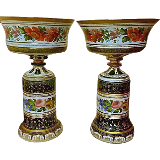 Pair of Huge Antique Bohemian Harrach Overlay Painted Glass Vases.45cm high