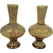 Pair of Fritz Heckert Enamelled Glass Vases
