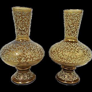 Pair of Fritz Heckert Enamelled Glass Vases