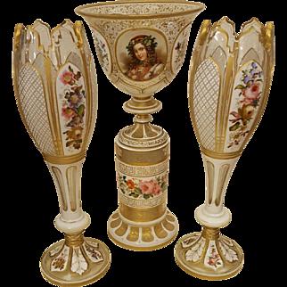 Set of three Bohemian Glass Vases.