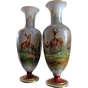 Pair of Baccarat Opaline Glass Vases painted with deers in a landscape
