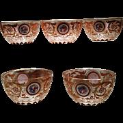 Bohemian Enameled Sherbet Bowls Set