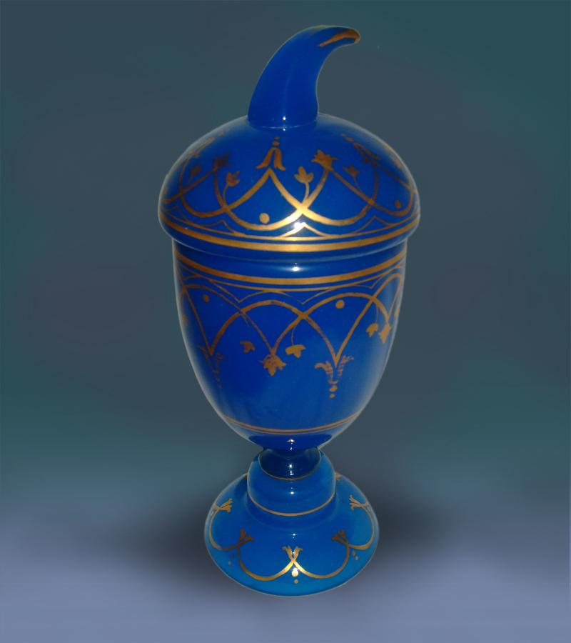 French Opaline  Lidded  Goblet