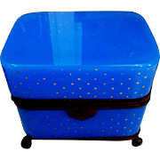 Blue French Opaline Enameleed Glass Box ,Casket