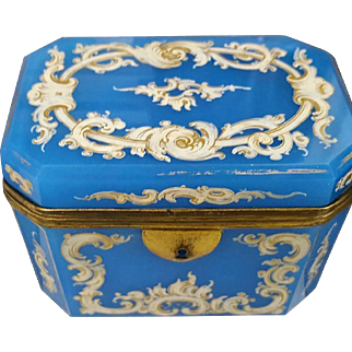 Blue French Opaline Enameleed Glass Box ,Casket