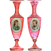 Pair of Bohemian Cranberry Glass Portrait Vases