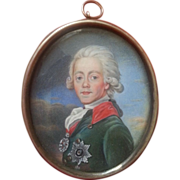 Russian Old Silver Framed Miniature of Pavel I