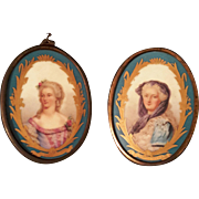 Pair of Antique Porcelain Sevres Plaques,Portraits of Louis XV spouse and Favorite,Madame Du Barry