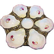 Victorian Era Majolica Porcelain Oyster Plate
