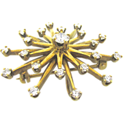 "Beautiful 14kt Yellow Gold Mid Century ""Starburst"" Diamond Brooch"