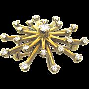 "Beautiful 14kt Yellow Gold Mid Century ""Starburst"" Diamond Brooch"